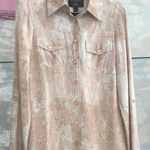 ST. JOHN Snake Print Silk Long Sleeve Shirt Dress Style#K111E53